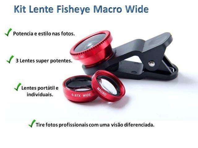 Kit De Lentes Para Fotografia 3 Em 1 Para Celular