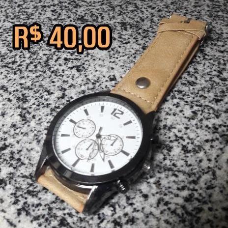 Relógio importado masculino novo, com máquina excelente! pulseira de couro top