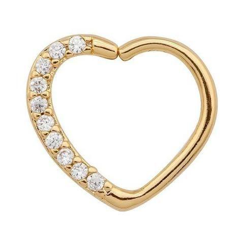 Piercing daith clips folheado a ouro coração com zircônias