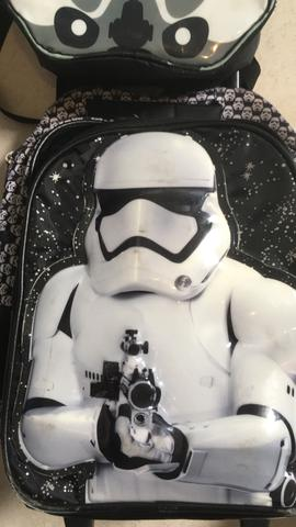 Kit mochila rodinha e alça star wars baggagio
