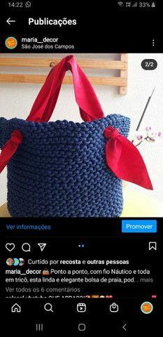 Bolsa de trico com fio nautico - Foto 2