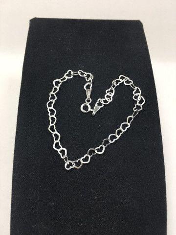 Pulseira coração vazado em prata 925 legítima