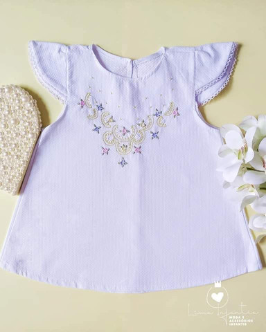 Vestido Trapézio - 6 a 12 meses.