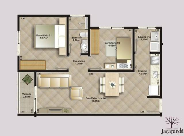 Apartamento Residencial Jacarandá - 2 quartos - Apto 4 - Bloco A