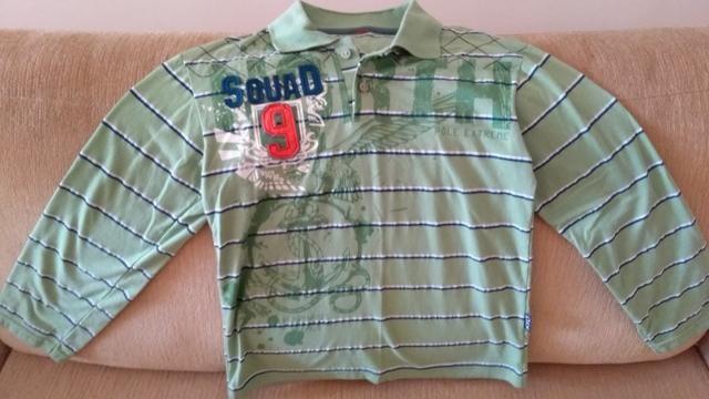 Camisa gola polo infantil, manga longa, marca Kyly , número 08, original. Praticamente nov
