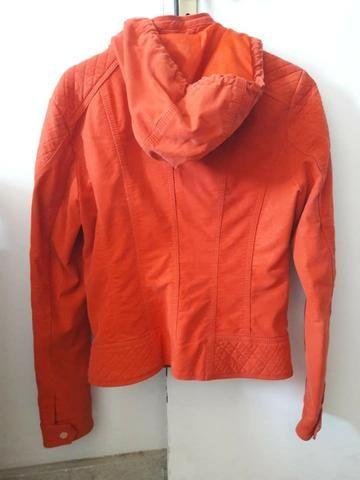 Jaqueta couro nobuck cor laranja - reforçada - quase nova