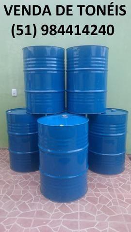 Tonel de Lata - Tambor de Metal - Lixeira de Latão - 200 Litros - Cor Azul ou Amarelo
