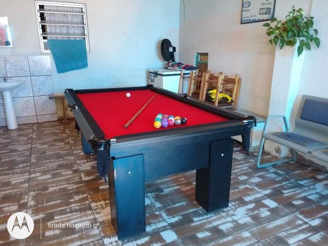 Mesa de Bilhar Preta Tx Tecido Vermelho Modelo HSD4695 - Foto 3