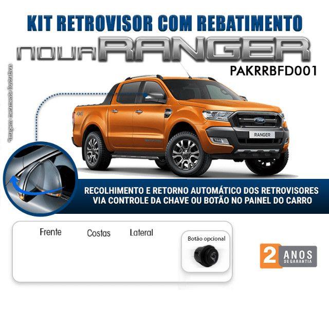 Kit Retrovisor Rebatimento Ford Nova Ranger Tragial 2012 a 2020- Instalado