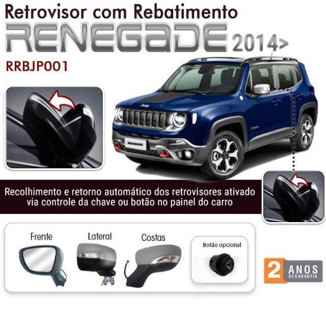 Kit Retrovisor Rebatimento Jeep Renegade Tragial 2014 a 2020- Instalado
