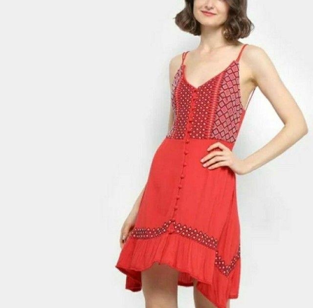 Vestido farm vermelho bordado