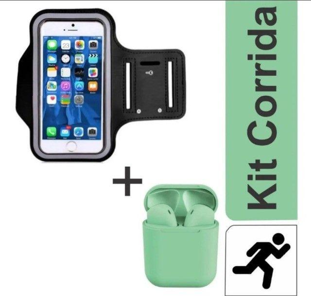 Kit Corrida Fone Via bluetooth i12s tws + Suporte Celular Braçadeira