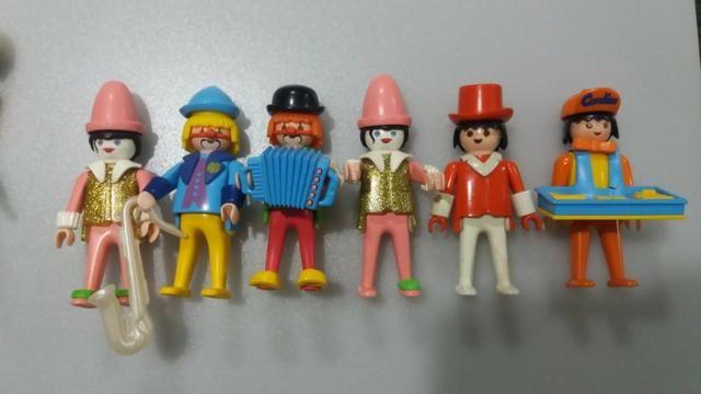 Bonecos Antigos Playmobil - Palhaços, mágico e doceiro