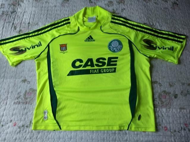 Camisa Palmeiras Adidas verde limão marca texto patch campeão