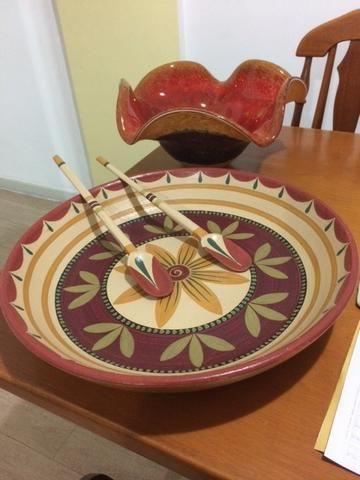 Vaso de Murano e Prato em cerâmica