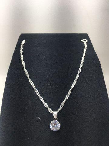 Pulseira em prata 925 trançada com pingente ponto de luz em prata 925 promoção