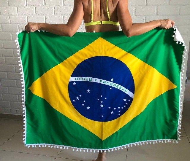 Canga De Praia Atoalhada Bandeira Do Brasil