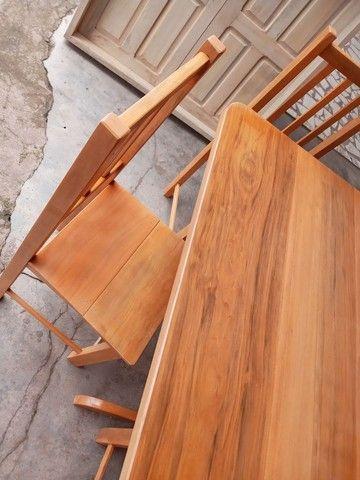Jogo mesa nova 4 cadeiras pau mulato!!! - Foto 4