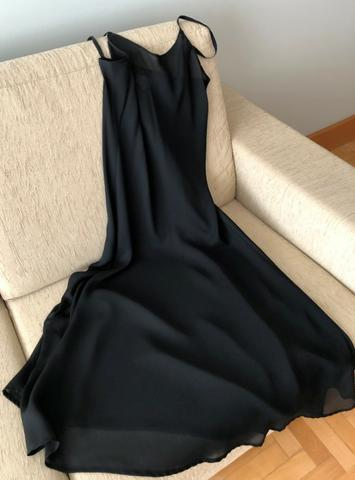 Vestido social longuette manga curta M, em crepe, usado - Foto 3