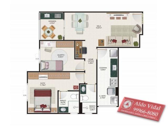 ARV 53- O Melhor Apto 2 quartos 65m² de Laranjeiras. Buritis Condomínio Clube - Foto 2