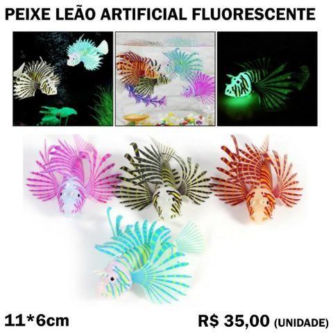 Peixe Leão Artificial de Silicone Fluorescente para Decoração de Aquário