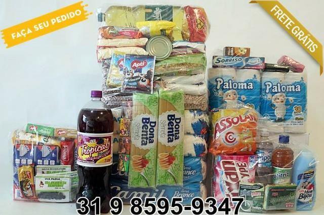 6b27088199 Cesta Básica + Kit Lanche + Kit de Limpeza & Higiene 60 itens - Frete Grátis