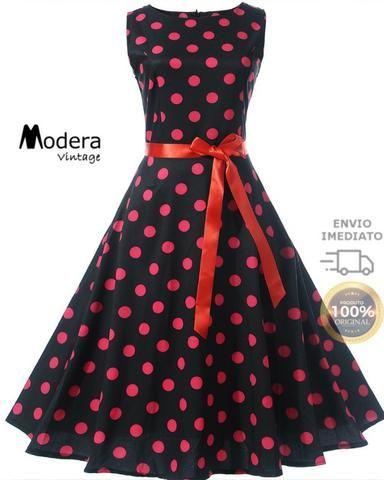 ae7cd1577 Vestido De Bolinha Anos 60 Festa Vintage Retrô Bola 50 Pin20 ...