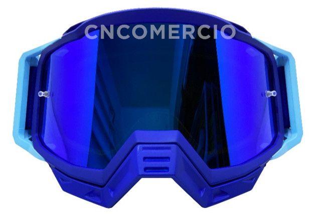 Óculos Gaia Mx Pró Motocross Velocross Azul Lente Espelhada - Foto 2