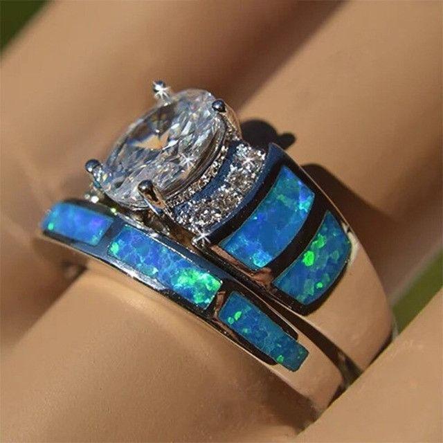Conjunto de anel folheado em prata - Foto 5