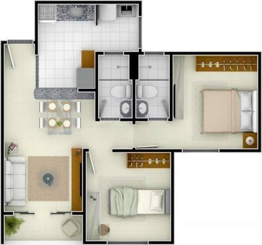 Apartamento Usado para Venda, Caucaia / CE, 2 dormitórios, 1 suíte, 2 banheiros, 1 garagem