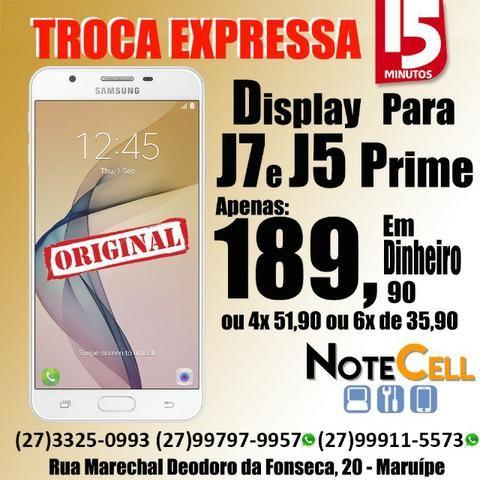Tela J7 Prime ( SM G610 Display Completo) Cores Preto e Branco - Instalação Imediata