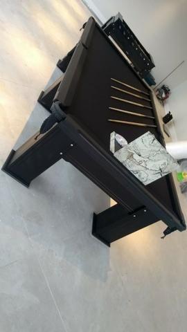 Mesa Madeira de Sinuca Cor Preta Tecido Preto Mod. TSQS4162