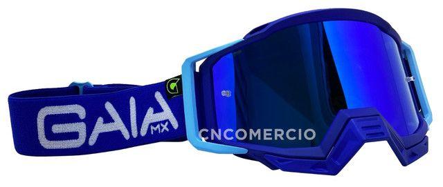 Óculos Gaia Mx Pró Motocross Velocross Azul Lente Espelhada