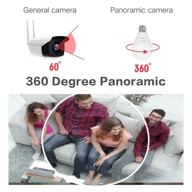 Camera Ip Seguraca Lampada Panoramica Espia Wifi - Foto 5
