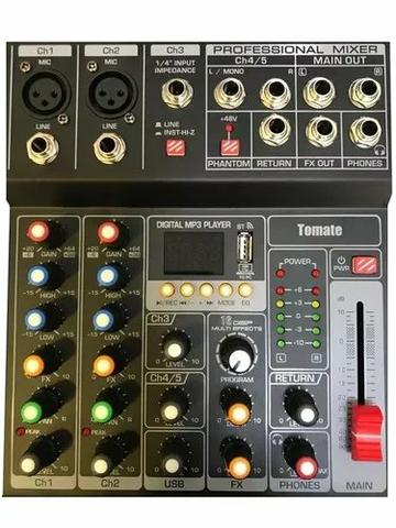 Mesa De Som 5 Canais Mp3 Estéreos Efeitos Usb Tomate Tyt005(entrega grátis) - Foto 2
