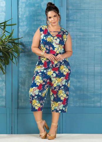 0d0a89cfef Roupa Feminina Plus Size Macacão Pantacourt Estampa Floral - Roupas ...