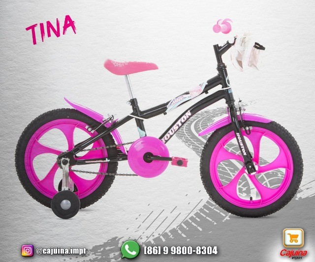Bicicleta Infantil Aro 16 Houston Rosa  M09sd10sd21