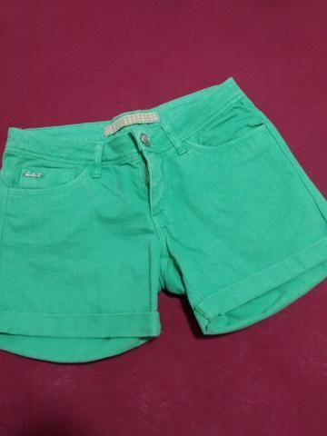 Shorts Jeans Verde Folha