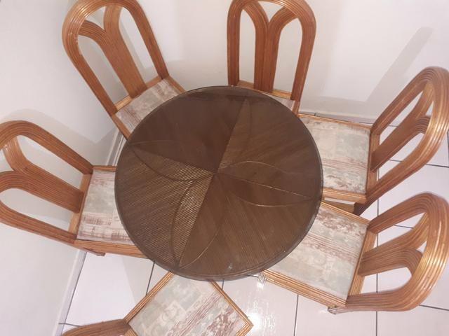 Mesa De Bambu Redonda