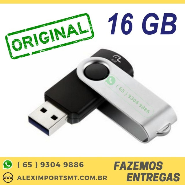 Pen Drive 16Gb Original Multilaser Twist Preto Novo