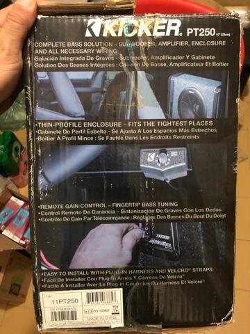 kicker pt250 caixa amplificada slim subwoofer 10