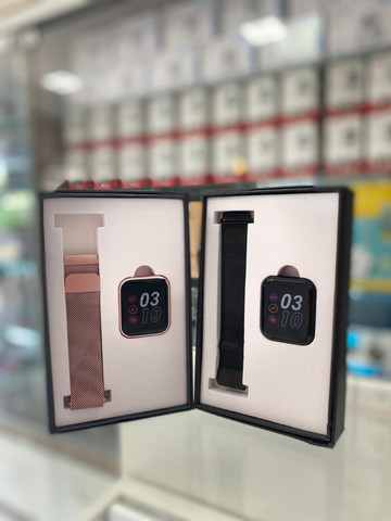 Relogio Inteligente Smartwatch P80 Rosa 2 Pulseiras-(Lojas Wiki)