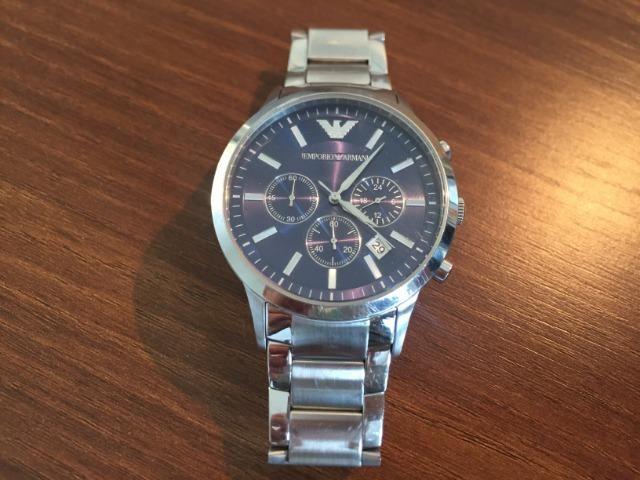 2be6a61202787 Relógio Emporio Armani AR 2448, Fundo Azul, Cronógrafo, Original, EUA