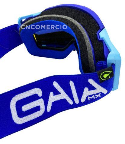 Óculos Gaia Mx Pró Motocross Velocross Azul Lente Espelhada - Foto 3