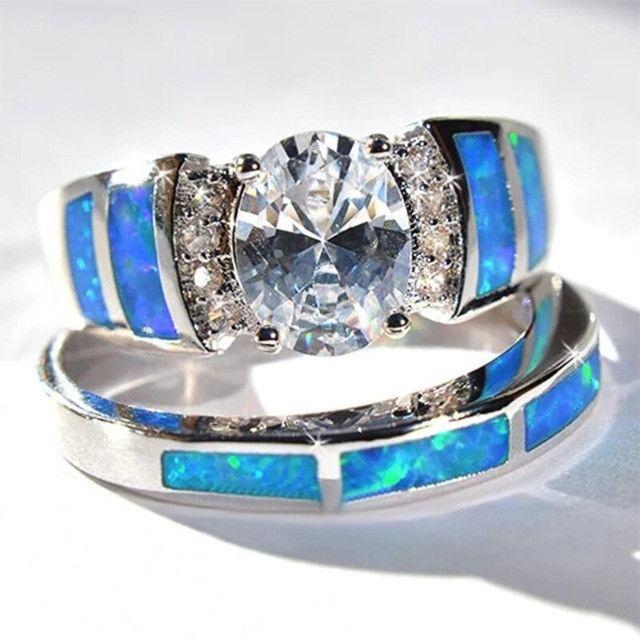 Conjunto de anel folheado em prata - Foto 4