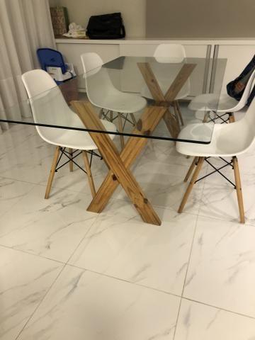 Mesa tampo de vidro com 4 cadeiras - Foto 2