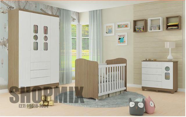 Frete Grátis* Quarto de Bebê Armário, Cômoda Tedy e Berço Uli- Tedy *NOVO