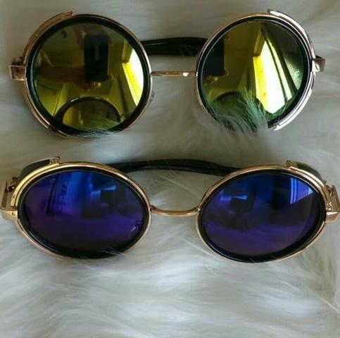 575d01010 Óculos Redondo Espelhado com Proteção Lateral - Beleza e saúde ...