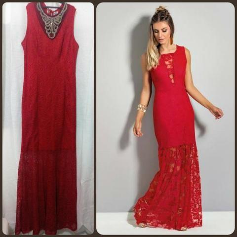 31362855695 Vestido Longo De Renda Vermelho