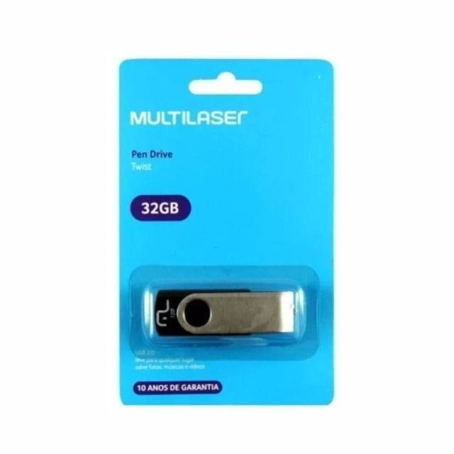 Pen Drive 32gb USB 2.0 Twist preto Multilaser - Foto 2